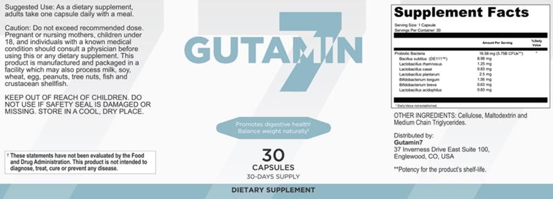 Gutamin 7 Ingredients Label